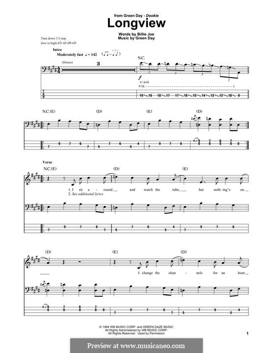 Longview (Green Day): For bass guitar with tab by Billie Joe Armstrong, Tré Cool, Michael Pritchard