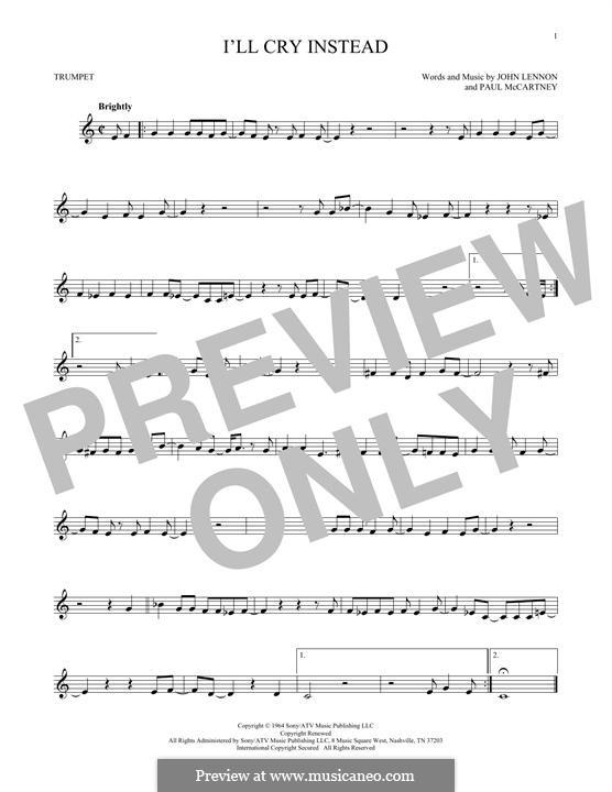 I'll Cry Instead (The Beatles): For trumpet by John Lennon, Paul McCartney