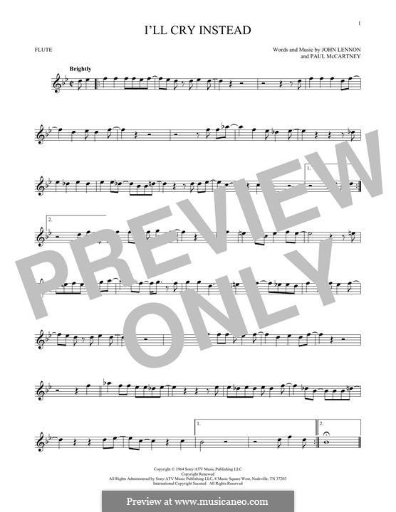 I'll Cry Instead (The Beatles): For flute by John Lennon, Paul McCartney