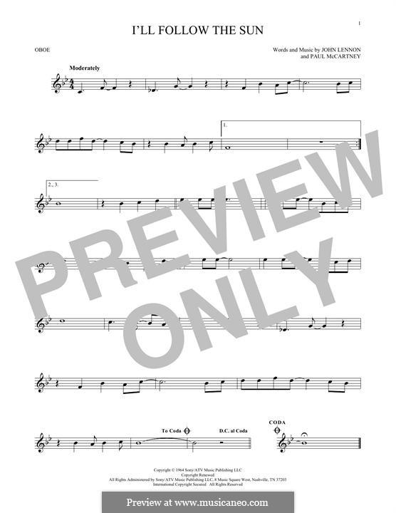 I'll Follow the Sun (The Beatles): For oboe by John Lennon, Paul McCartney