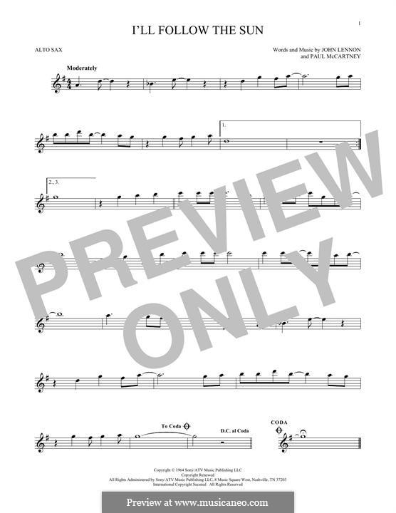 I'll Follow the Sun (The Beatles): For alto saxophone by John Lennon, Paul McCartney
