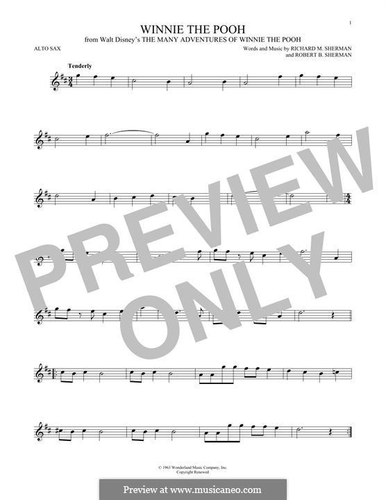 Winnie the Pooh: For alto saxophone by Richard M. Sherman, Robert B. Sherman