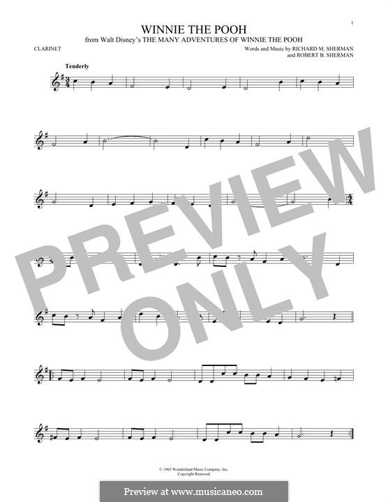 Winnie the Pooh: For clarinet by Richard M. Sherman, Robert B. Sherman