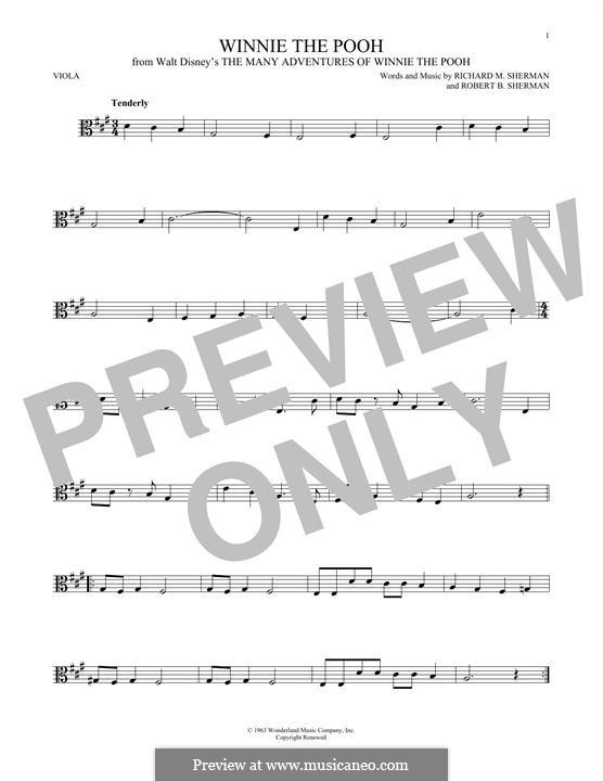 Winnie the Pooh: For viola by Richard M. Sherman, Robert B. Sherman