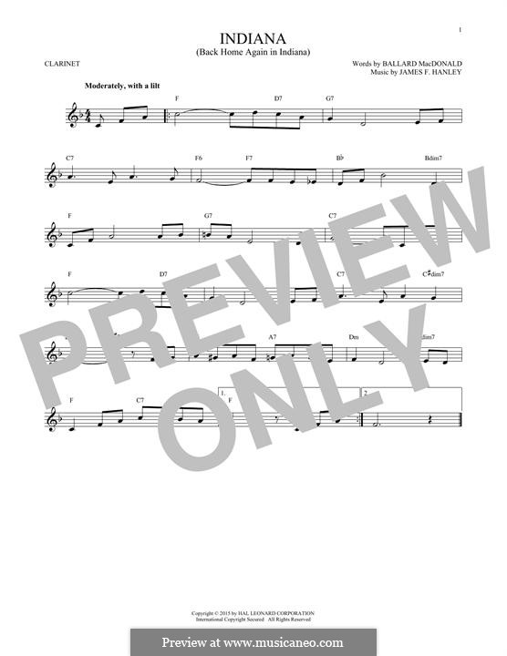 Indiana (Back Home Again in Indiana): For clarinet by James Frederick Hanley