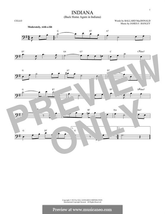 Indiana (Back Home Again in Indiana): For cello by James Frederick Hanley