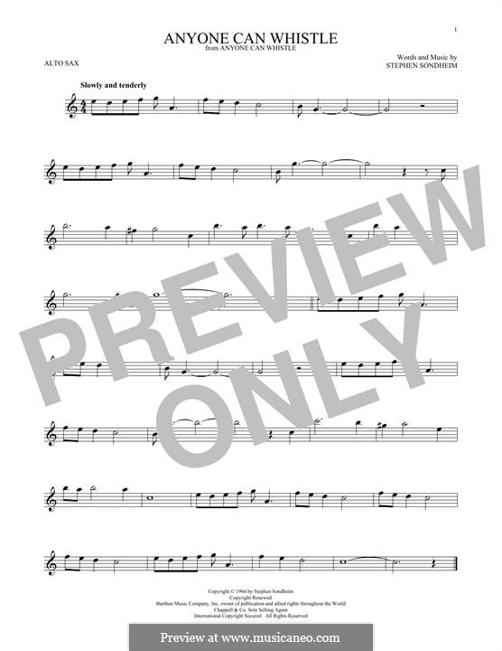 Anyone Can Whistle: For alto saxophone by Stephen Sondheim
