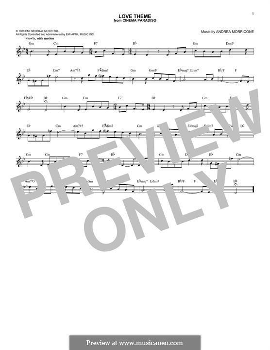 Love Theme (Tema d'Amore): Lyrics and chords by Ennio Morricone