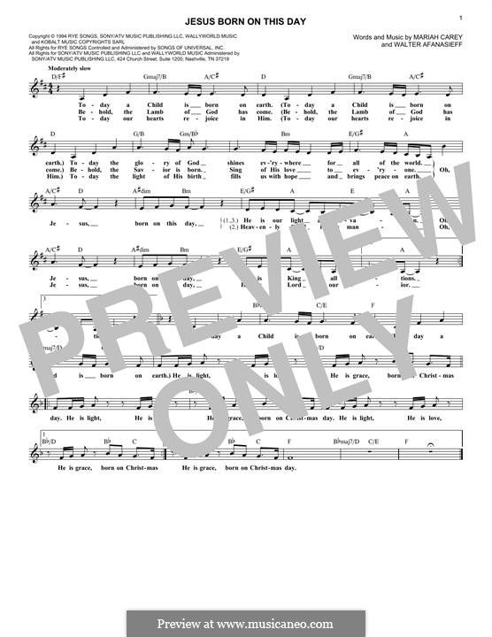 Jesus Born On This Day: Melody line by Mariah Carey, Walter Afanasieff