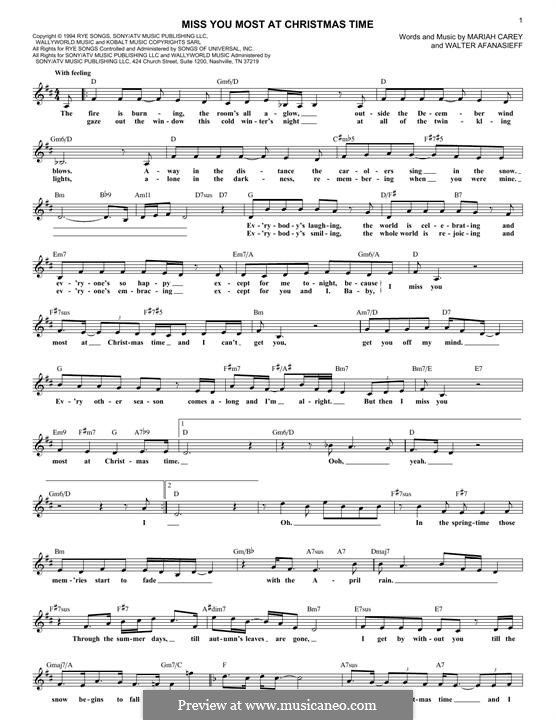Miss You Most at Christmas Time (Mariah Carey): Melody line by Walter Afanasieff
