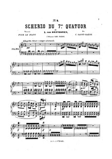 String Quartet No.7 in F Major, Op.59 No.1: Scherzo, for piano by Ludwig van Beethoven