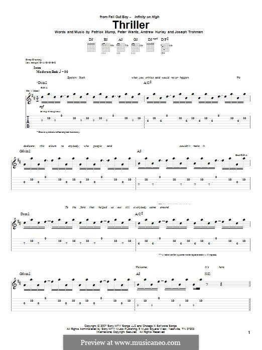 Thriller (Fall Out Boy): For guitar with tab by Andrew Hurley, Joseph Trohman, Patrick Stump, Peter Wentz