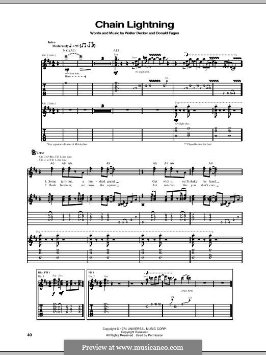 Chain Lightning (Steely Dan): For guitar with tab by Donald Fagen, Walter Becker