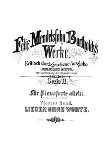 Lieder ohne Worte (Songs without Words): For piano by Felix Mendelssohn-Bartholdy