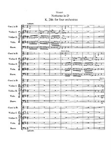 Nocturne for Four Orchestras in D Major, K.286: Full score by Wolfgang Amadeus Mozart