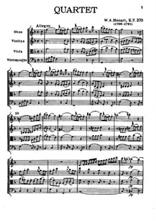 Quartet for Oboe and Strings in F Major, K.370: Full score by Wolfgang Amadeus Mozart
