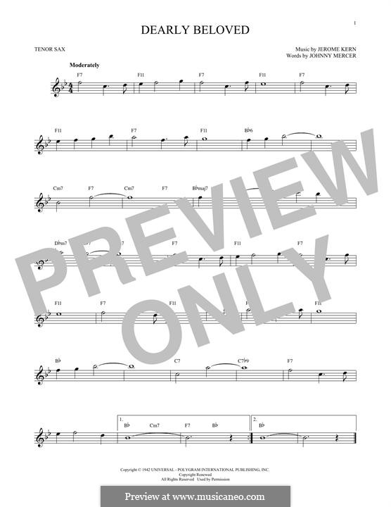 Dearly Beloved: For tenor saxophone by Jerome Kern