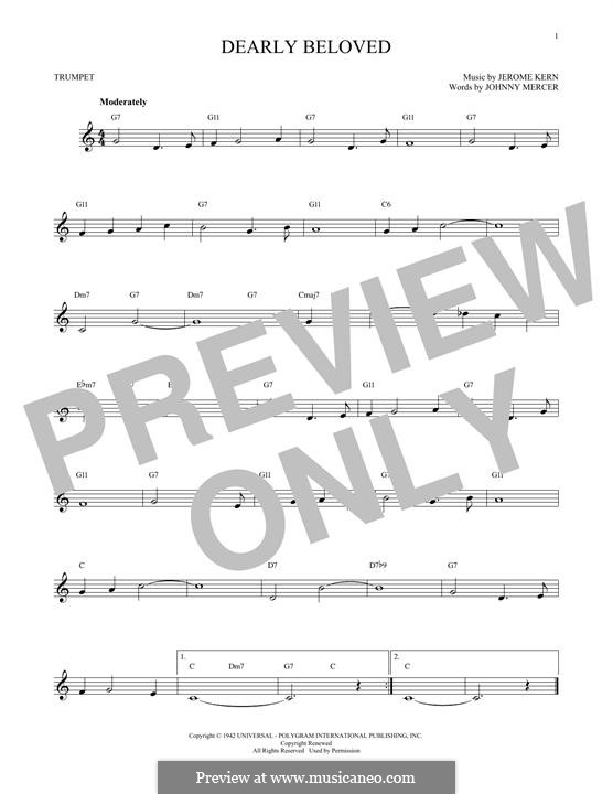 Dearly Beloved: For trumpet by Jerome Kern