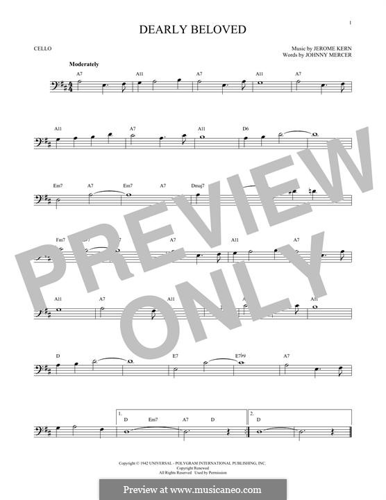 Dearly Beloved: For cello by Jerome Kern