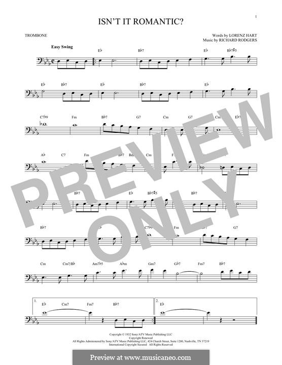 Isn't it Romantic?: For trombone by Richard Rodgers
