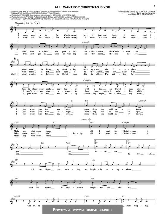 Mariah Carey All I Want For Christmas Is You Lyrics.Lyrics And Chords