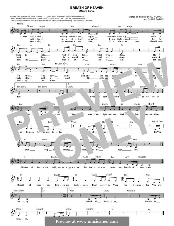 Breath Of Heaven Marys Song By C Eaton Sheet Music On Musicaneo