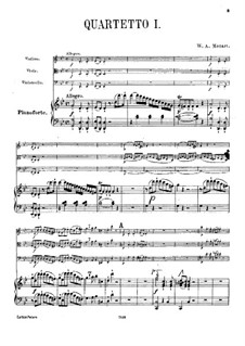 Quartet for Piano and Strings No.1 in G Minor, K.478: Full score, parts by Wolfgang Amadeus Mozart