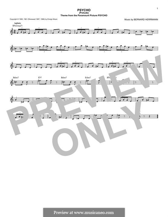 Psycho (Prelude): Lyrics and chords by Bernard Herrmann