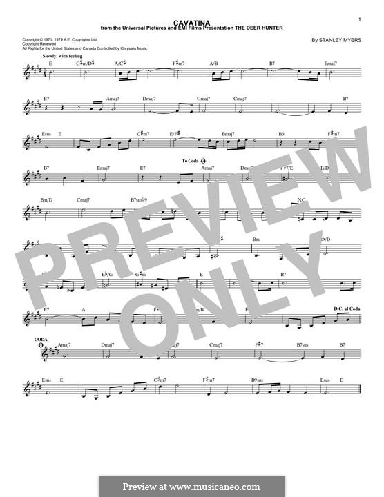 Cavatina From The Deer Hunter By S Myers Sheet Music On Musicaneo