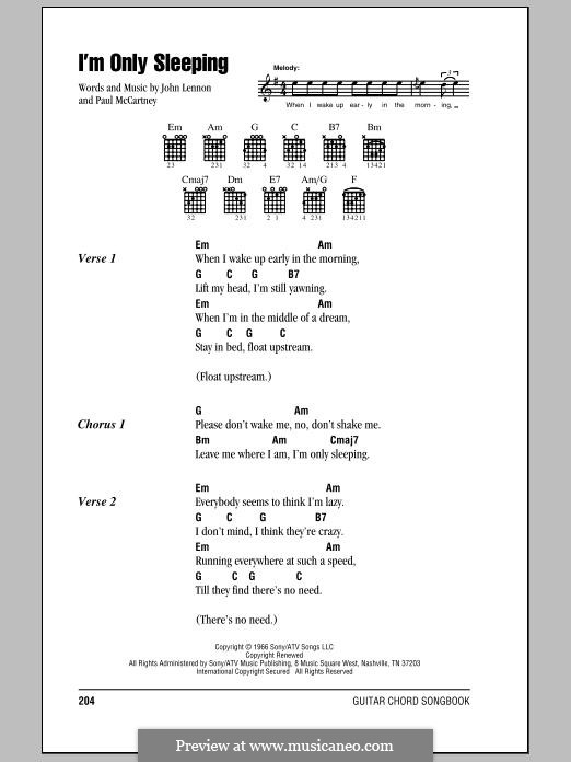 I'm Only Sleeping (The Beatles): Lyrics and chords by John Lennon, Paul McCartney