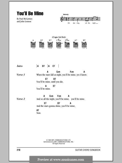 You'll Be Mine (The Beatles): Lyrics and chords by John Lennon, Paul McCartney