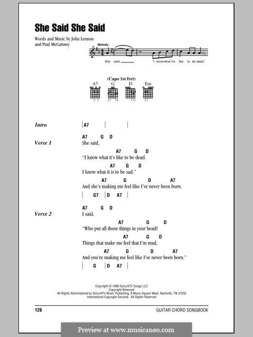 She Said She Said (The Beatles): Lyrics and chords by John Lennon, Paul McCartney