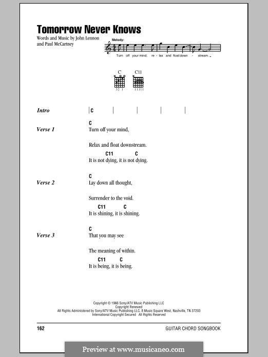 Tomorrow Never Knows (The Beatles): Lyrics and chords by John Lennon, Paul McCartney