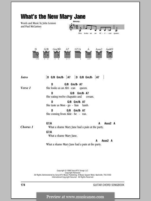 What's the New Mary Jane? (The Beatles): Lyrics and chords by John Lennon, Paul McCartney