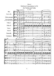 Sinfonia Concertante for Violin, Viola and Orchestra in E Flat Major, K.364: Full score by Wolfgang Amadeus Mozart