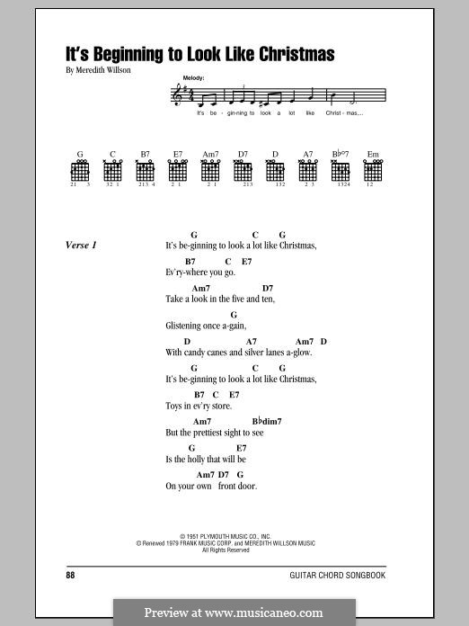 It's Beginning to Look a Lot Like Christmas (Perry Como): Lyrics and chords by Meredith Willson