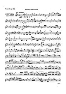 Sinfonia Concertante for Violin, Viola and Orchestra in E Flat Major, K.364: Parts by Wolfgang Amadeus Mozart