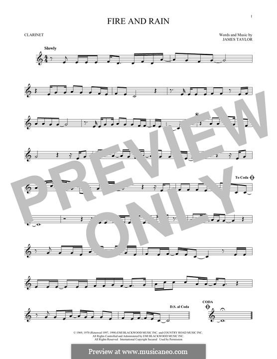 Fire and Rain: For clarinet by James Taylor