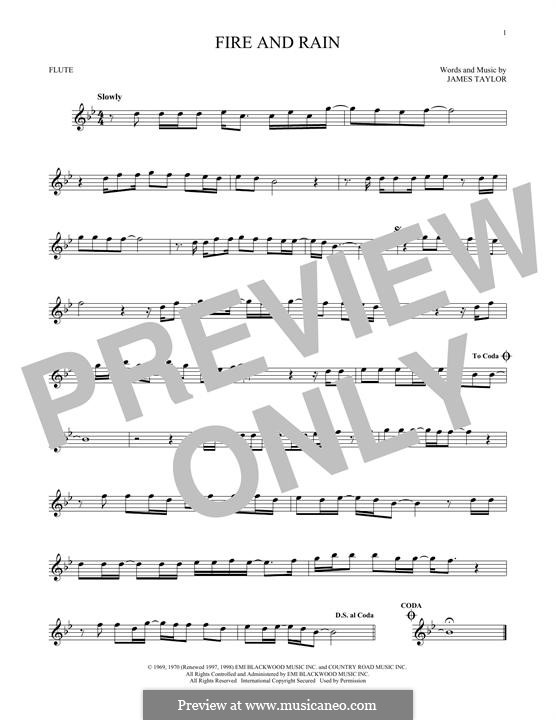 Fire and Rain: For flute by James Taylor