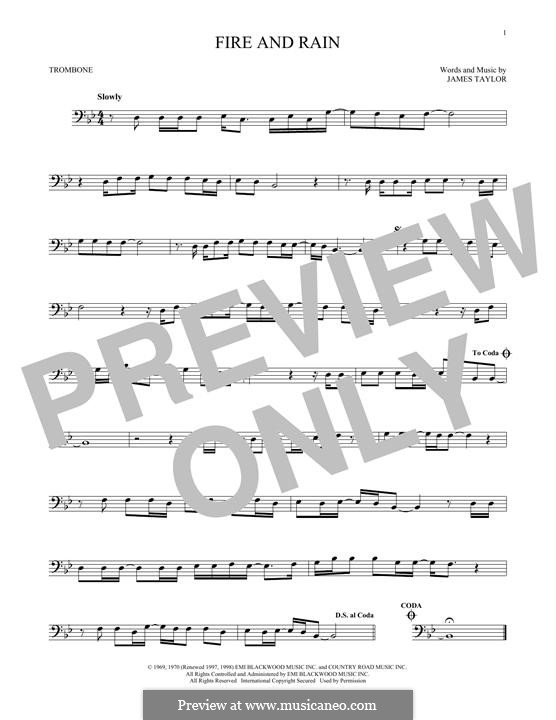 Fire and Rain: For trombone by James Taylor