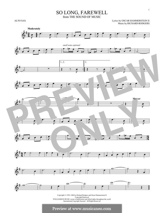 So Long, Farewell (from The Sound of Music): For alto saxophone by Richard Rodgers