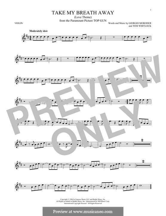 Take My Breath Away (Berlin): For violin by Giorgio Moroder