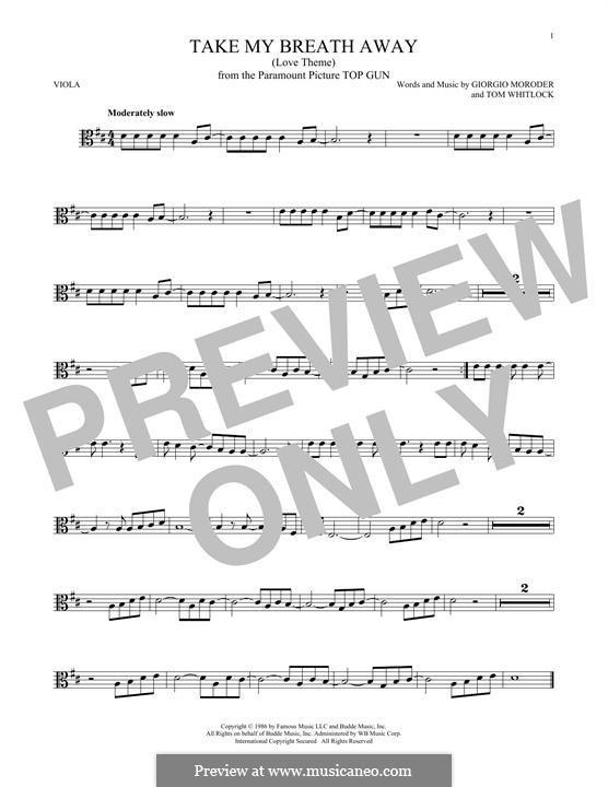 Take My Breath Away (Berlin): For viola by Giorgio Moroder