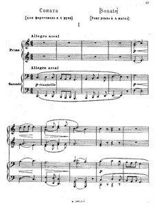 Sonata for Piano Four Hands in C Major: Piano score by Modest Mussorgsky