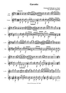 Gavotte in A Major: For alto flute and guitar by Christoph Willibald Gluck