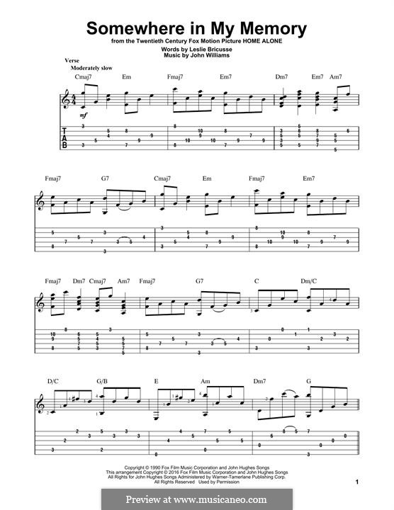 Somewhere in My Memory: For guitar with tab by John Williams