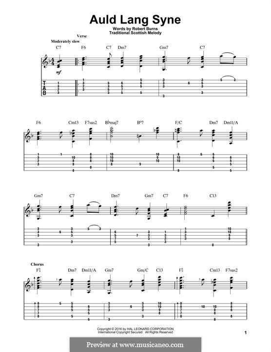 Auld Lang Syne: For guitar with tab by folklore