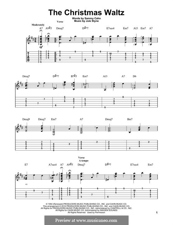 The Christmas Waltz: For guitar with tab by Jule Styne