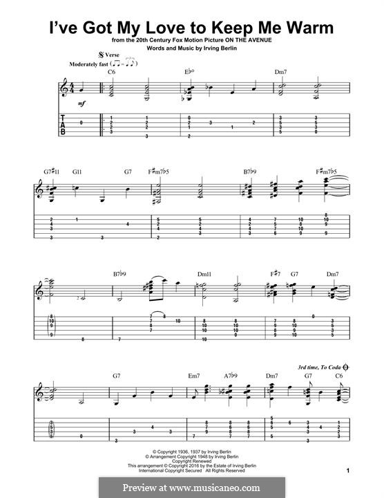 I've Got My Love to Keep Me Warm (Frank Sinatra): For guitar with tab by Irving Berlin