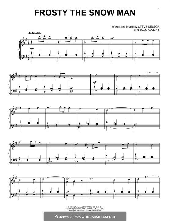 Frosty the Snow Man: For piano by Jack Rollins, Steve Nelson